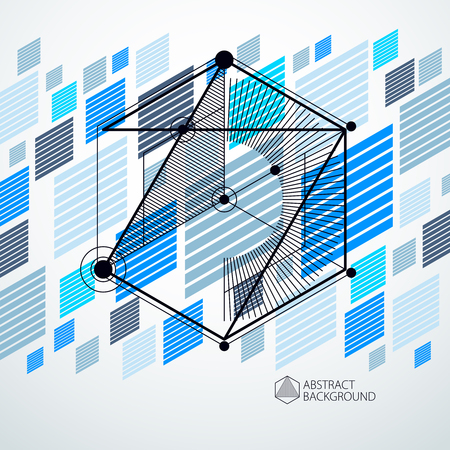 Isometric abstract blue background with linear dimensional cube shapes, vector 3d mesh elements. Layout of cubes, hexagons, squares, rectangles and different abstract elements.