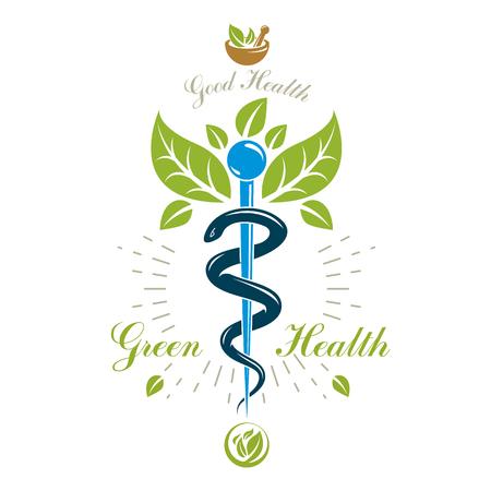 Icono de caduceo de farmacia, logotipo médico de vector para uso en medicina holística, rehabilitación o farmacología. Símbolo creativo de homeopatía compuesto con mortero y mortero.