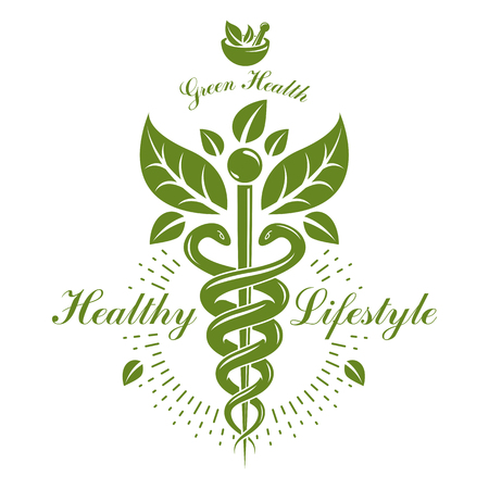 Pharmacy Caduceus icon, vector medical graphic for use in holistic medicine, rehabilitation or pharmacology.