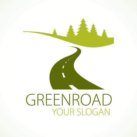 국가로 곡선 고속도로 벡터 완벽 한 디자인 일러스트 레이 션 또는 로고 자연, 나무 및 숲 캠핑 및 관광 여행 테마로가는 길. 스톡 콘텐츠 - 96658269