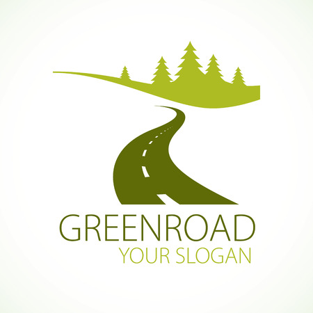 Country road curved highway vector perfect design illustration or logo. The way to nature, trees and forest camping and tourism travel theme.