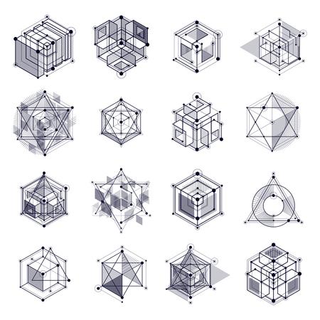 Conjunto de dibujos vectoriales de sistema industrial en blanco y negro creado con líneas y cubos 3D. La composición geométrica moderna se puede utilizar como plantilla y diseño.