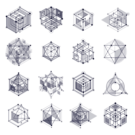 Vector drawings set of black and white industrial system created with lines and 3D cubes. Modern geometric composition can be used as template and layout.