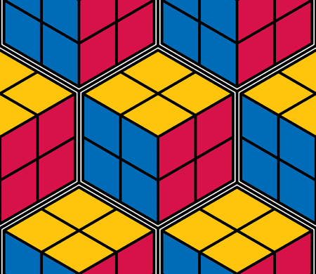 Geometric cubes abstract seamless pattern, 3d vector background. Technology style engineering line drawing endless illustration.