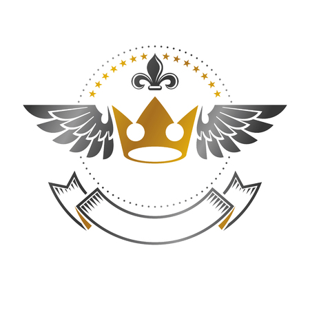 Imperial Crown emblem. Heraldic Coat of Arms, vintage vector logo. Antique logotype isolated on white background. Illustration