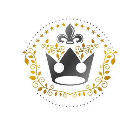 Royal Crown emblem, Heraldic Coat of Arms decorative isolated vector illustration. Фото со стока - 96959700