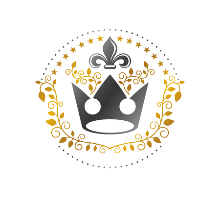 Royal Crown emblem, Heraldic Coat of Arms decorative isolated vector illustration.