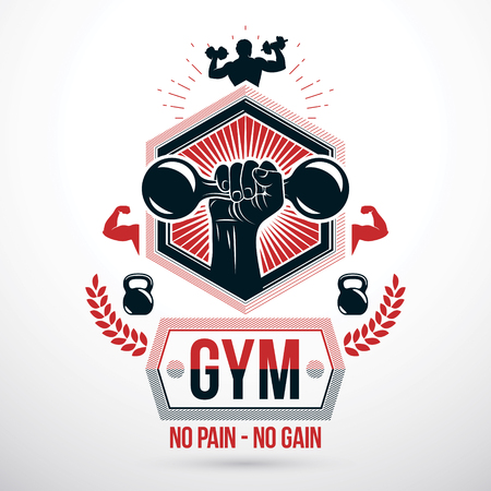 Graphic vector sign created with strong athlete biceps arm, dumb-bell and kettle bell sport equipment. Bodybuilding weightlifting gym symbol sport template