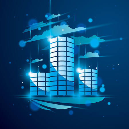 Futuristic building, modern style vector architecture illustration with blurred lights and glares effect. Real estate realty business center blue design. 3D business office facade in big city.