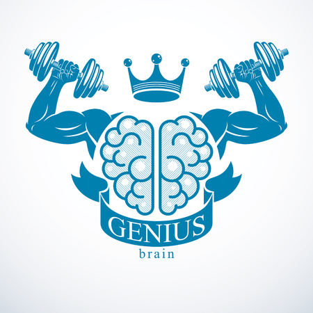 Brain with strong bicep hands of bodybuilder. Power Brain emblem, genius concept. Brain training, grow IQ, mental health.