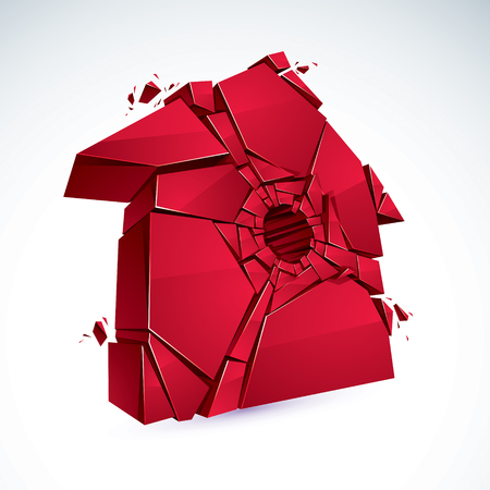 Broken Home concept, house broken to pieces, vector realistic 3D illustration. Illustration