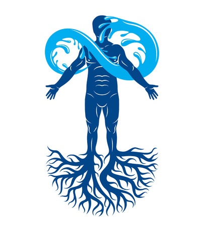 Vector illustration of human being, strong athlete with tree roots and limitless symbol composed from water splash. Human water consumption idea. Stock Illustratie