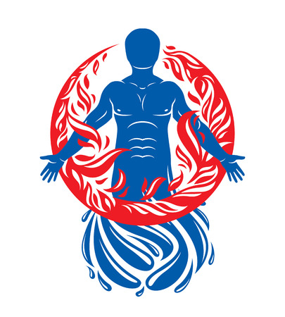 Vector illustration of human, athlete created form water and surrounded by a fireball. Living in harmony with nature, environment protection concept.  イラスト・ベクター素材