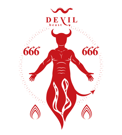 Vector graphic illustration of muscular human derives from fire. Mystic infernal demon, horned Lucifer, evil forces. Illustration