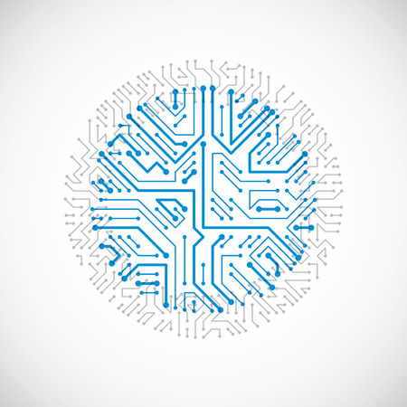 Vector abstract colorful technology illustration with round blue circuit board. Çizim