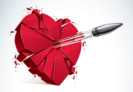 Heart broken with bullet gun shot, 3D realistic vector illustration of heart symbol exploding to pieces.