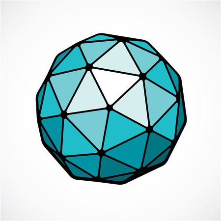 Objet sphérique numérique de vecteur fabriqué à l'aide de facettes triangulaires. Forme low poly.