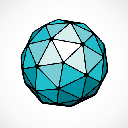 삼각면을 사용하여 만든 벡터 디지털 구형 개체. 낮은 폴리 모양.