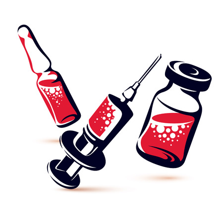 Vector graphic illustration of vial, ampoule with medicine and medical syringe for injections.