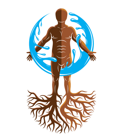 Vector graphic illustration of muscular human, individual created with tree roots and surrounded by a water ball.