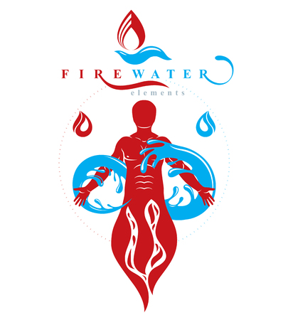 Vector graphic illustration of strong male, fireman composed with eternity symbol made with water splash. 向量圖像