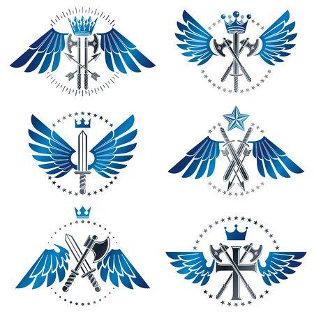 Vintage Weapon Emblems set. Heraldic coat of arms decorative emblems collection. Illustration