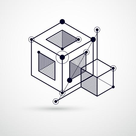 Papier peint 3D technologique noir et blanc d'ingénierie fait avec des cubes et des lignes. Banque d'images - 96761611