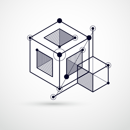 Engineering technological black and white vector 3D wallpaper made with cubes and lines.