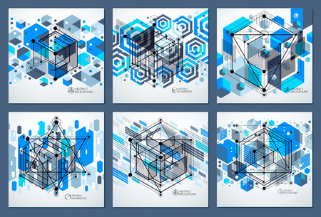 Technical blueprints set, vector blue digital background with geometric design elements, cubes. Engineering technological wallpaper made with honeycombs. Illustration
