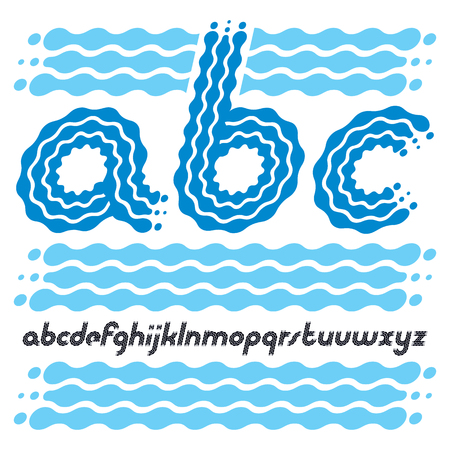 Set of cool disco vector lowercase English alphabet letters, abc isolated. Rounded bold italic type font, script from a to z can be used in retro poster design.