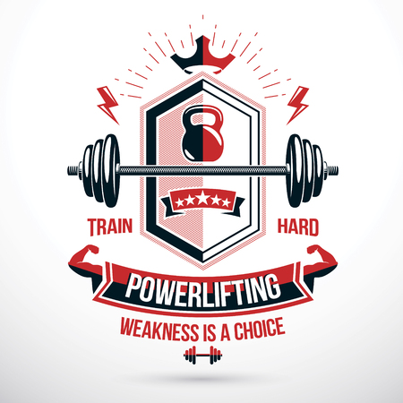 Sports club emblem, vector barbell symbol. Illustration