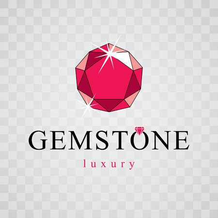 Vector elegant sparkling gem. Faceted gemstone sign emblem, illustration.   イラスト・ベクター素材