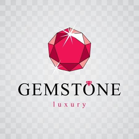 Vector elegant sparkling gem. Faceted gemstone sign emblem, illustration.  Illustration