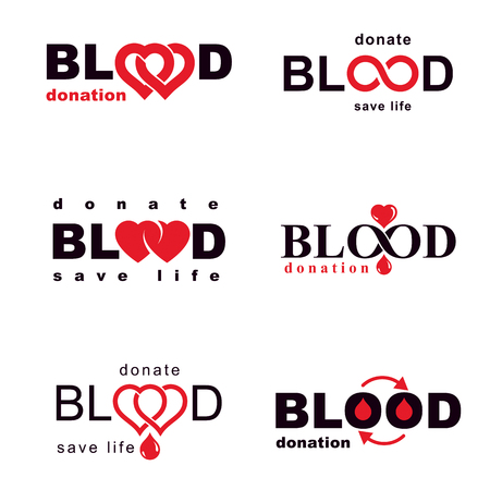 Collection of vector emblems created on blood donation idea, blood transfusion and circulation concepts.