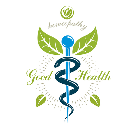 Caduceus vector conceptual emblem created with snakes and green leaves. Wellness and harmony metaphor.