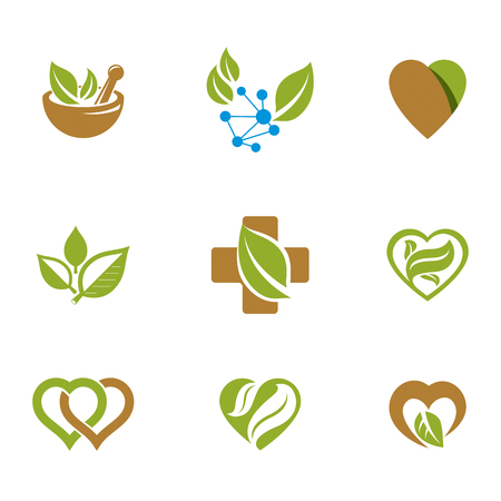 Alternative medicine metaphor, vector graphic emblems collection. Vegetarian lifestyle conceptual illustrations.