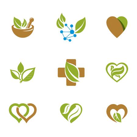 Alternative medicine metaphor, vector graphic emblems collection. Vegetarian lifestyle conceptual illustrations.