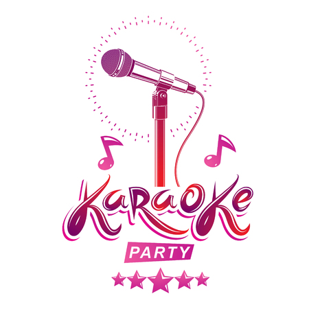 Karaoke party invitation poster, live music vector concert advertising leaflet composed using stage or recorder microphone and musical notes.