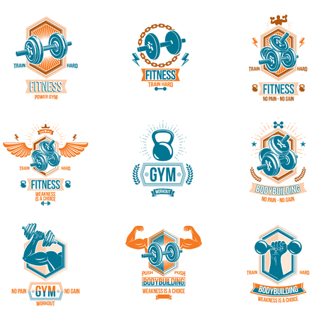 Set of vector heavy load theme symbols and advertising leaflets composed with dumbbells.