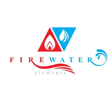 Nature elements harmony logo for use as corporate emblem, fire and water balance. Vectores