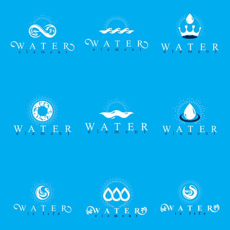 Fresh mineral water design emblems like water drops, H2O symbols, wave splash and limitless logotypes.