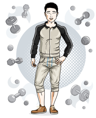 Handsome brunet young man is standing on simple background with dumbbells and barbells. Active and healthy lifestyle theme cartoon.