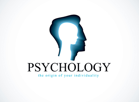 Psychology vector logo created with man head profile and little child boy inside.