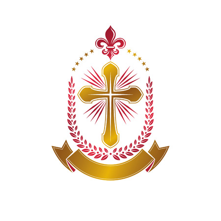 Christian Cross decorative golden emblem. Heraldic vector design element composed using laurel wreath and luxury ribbon. Retro style label, heraldry logo, religious vintage symbol.