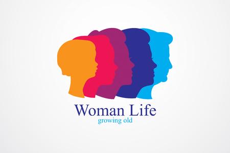 Concetto di età di vita della donna, periodo di vita, periodi e ciclo di vita, invecchiamento, maturazione e invecchiamento, una generazione e categorie di età. Icona classica semplice di vettore o progettazione di logo.