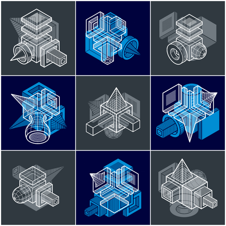 Set of isometric abstract vector geometric shapes. Stock Illustratie