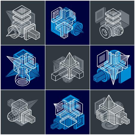 Set of isometric abstract vector geometric shapes. Ilustração