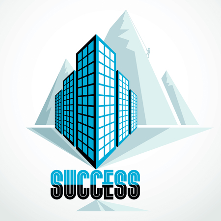 Rock climber as a concept of reaching goal of success behind of modern architecture business office building. Career concept. Vector illustration. Illustration