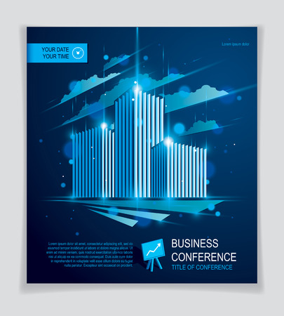Futuristic building ad. Modern vector architecture brochure with blurred lights and glares effect.
