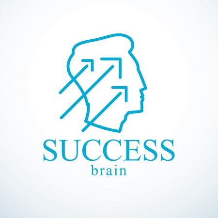 Successful man vector logo or icon design. Man head profile with arrows moving up. Businessman or entrepreneur concept. Stock Vector - 97180107